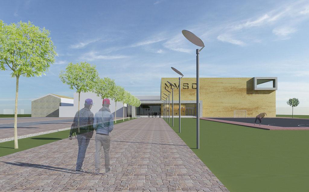 Miskolc MVSC tornacsarnok koncepcióterv építész tervezés